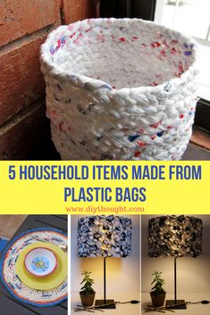 5 household items from plastic bags – diy thoughts - Upcycled Crafts Reuse Plastic Bags, Plastic Bag Crafts, Plastic Bag Crochet, Plastic Shopping Bags, Plastic Grocery Bags, Plastic Recycling, Plastic Plastic, Plastic Spoons, Plastic Bottles
