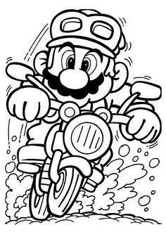 Mario on motorcycle coloring pages for kids, printable free