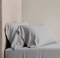 RH's Heathered Cotton-Cashmere Sheet Set:FREE SHIPPINGCotton reaches a new level of luxury in our bedding collection. Loomed with pure Mongolian cashmere into an elegant heathered weave, our bedding offers exceptional softness. French seams edging the duvet cover and shams provide a tailored finish.