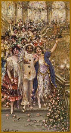 """Vincenzo Migliaro (Napoli 1858 - 1938) - """"Carnevale tra i fiori"""" -"""