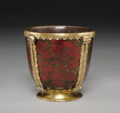 Calyx (Chalice), 900s-1000s  Byzantium, Middle Byzantine (843-1261)  blood jasper (heliotrope) with gilt copper mounts, Overall - h:7.70 cm (h:3 inches). John L. Severance Fund 2013.49