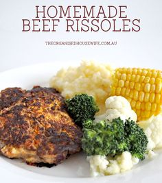 Whenever I make homemade beef rissoles I usually double the batch so I can pop some in the freezer to have ready as a meat and 3 vegetable meal or hamburgers. Minced Beef Recipes, Minced Meat Recipe, Mince Recipes, Beef Recipes For Dinner, Ground Beef Recipes, Baby Food Recipes, Cooking Recipes, Lamb Recipes, Savoury Recipes