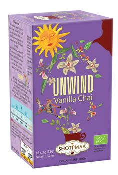 Tisana UNWIND:                                                        Ingredients: cinnamon* (20%), ginger*, liquorice*, rooibos*, fennel*, cardamom*, carob*, vanilla* (4%), cocoa shells*, cloves*, black pepper*, nutmeg*. * =  organic   Content: 16 Tea Bags, Weight 32 g (16 x 2 g)