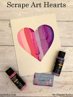 Scrape Art Hearts for St. Valentine's Day | Nanny Anita | My Baba Homemade Valentines Day Cards, Valentine Day Cards, Homemade Cards, Crafts For Kids, Arts And Crafts, Presents For Him, Plastic Card, Pattern Pictures, Heart Patterns
