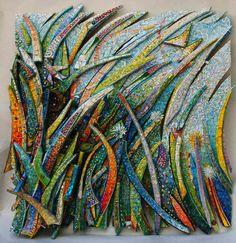 """GuilioMenossi_Primavera_La_Luminosa_via_del_cuore Primavera"""" (Spring) 2012 100 x 100 cm Smalti, vitreous glass, pearls, millefiori, small branches, Lego pieces."""