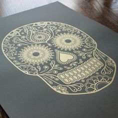 Image of Day of the Dead Sugar Skull Gold Screen Print