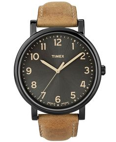 Timex Watch, Men's Premium Originals Classic Tan Leather Strap 42mm T2N677AB