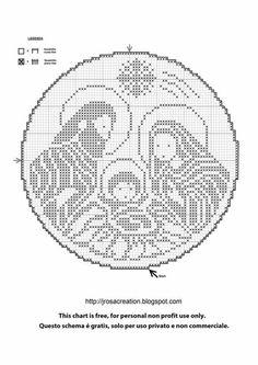 presepe a crochet Filet Crochet Charts, Crochet Diagram, Cross Stitch Charts, Cross Stitch Patterns, Christmas Crochet Patterns, Christmas Embroidery, Thread Crochet, Crochet Doilies, Cross Stitching