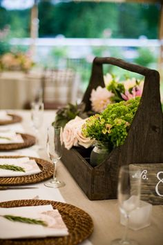 Upcycle, recycle antique/old bottle carrier or carpenter box & use it for flowers & centerpiece