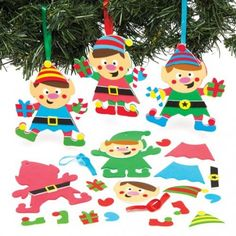 Baker Ross Ltd Christmas Elf Mix & Match Hanging Decoration Kits for Children to Make and Design for Xmas - Creative Foam Craft Toy for Kids (Pack of Elf Decorations, Elf Christmas Decorations, Christmas Paper Plates, Christmas Craft Projects, Christmas Elf, Christmas Printables, Christmas Ornaments, Foam Crafts, Crafts To Do