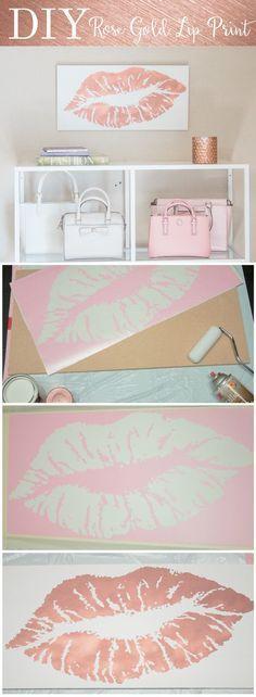 DIY Lip Print rose gold fashion blogger office Decor - Glamour-Zine More #DIYHomeDecorGold