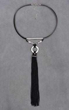 Nappa collana nero e grigio collana nappa camoscio nappa