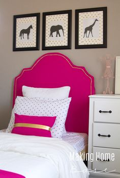 Little Girls Room - love the pink and gold and polka dots. I can't believe she made over this room for just $300! Awesome!!