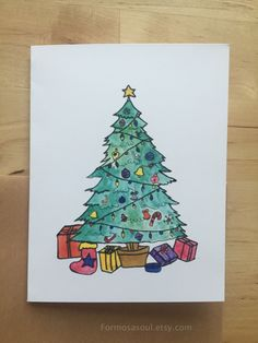 Christmas Tree Holiday Greeting Cards Card Sets by Formosasoul Holiday Greeting Cards, Greeting Cards Handmade, Christmas Cards, Christmas Tree, Rustic Christmas, Watercolor Illustration, Hand Painted, Unique Jewelry, Handmade Gifts