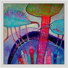 Two alike...acrylic on paper 25x25cm Elke Trittel