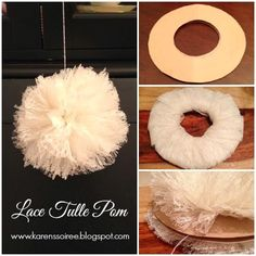 DIY Lace Tulle Poms #DIY #tulle