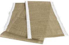 "16/""W x 72/""L Burlap and Lace Table Runner White"
