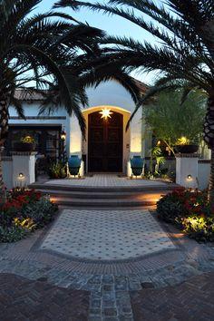 Designing Mediterranean Entry Using Light Fixture, Vase & Island -  Outdoor Lighting,  Star Light,  Tile Design,  Planter &  Night Lighting