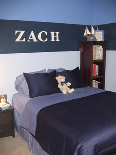 bedroom decor with stripes for pre teen boys | Blue Boy's Room, Three different shades of blue , Boys' Rooms Design