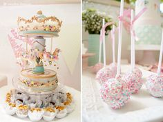 A music box carousel and the cakepops for this carousel themed birthday party