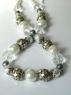Chunky Pearl Necklace Pearl Necklace by ElizabellaDesign on Etsy, $25.00
