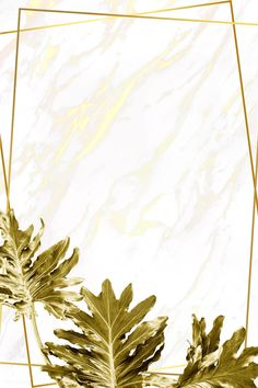 Gold Philodendron xanadu leaves on yellow marble background illustration