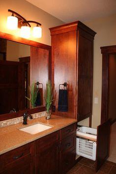 2012 Event Home - West Lakeland MN - traditional - bathroom - minneapolis - Dreamstructure DesignBuild Laundry Chute, Laundry Basket, Laundry Rooms, Hidden Laundry, Basement Remodeling, Basement Ideas, Bathroom Cabinetry, Traditional Bathroom, Art Of Living