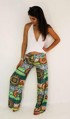 Green Print Summer Pants