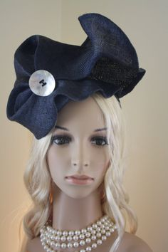d824b8ba492de Items similar to Navy sculpted sinamay headpiece  Claire on Etsy