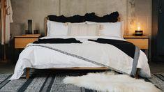 black-and-white-bedding-scheme Super King Duvet Covers, Double Duvet Covers, Monochrome Bedroom, Bedroom Black, Bed Company, King Size Duvet, White Bedding, Cotton Bedding, Home Decor