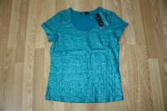 NWT Womens KIARA Teal Green Embellished Sequined Shirt Size Small  #Kiara #Blouse