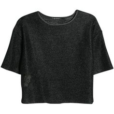 Mango Metallic Cropped T-Shirt , Black ($20) ❤ liked on Polyvore featuring tops, t-shirts, shirts, crop tops, black, metallic crop top, short sleeve t shirts, short sleeve shirts, sleeve t shirt and crop tee