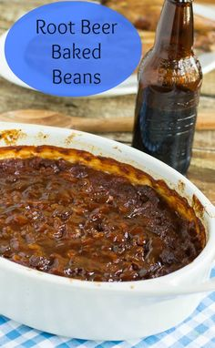 Thick and hearty baked beans flavored with root beer, bacon, barbecue sauce, and ground beef. Root Beer adds a little spice and some sweetness to these baked beans with ground beef and bacon. Sure to be a cookout favorite. Good Food, Yummy Food, Tasty, Healthy Food, Baked Bean Recipes, Beans Recipes, Chili Recipes, Yummy Recipes, Bacon