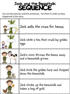 Jack And The Beanstalk Worksheets Printable 2 Fairy Tale Activities, Sequencing Activities, Fun Activities, Sequencing Worksheets, Story Sequencing, Printable Worksheets, Grammar Worksheets, Printable Coloring, Printables