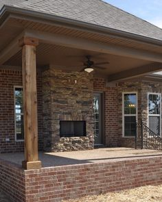 cedar trees for porch posts | Exterior Stone Fireplace and Cedar Posts - contemporary - porch ...