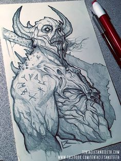 A commission sketch of the Horseman of War. Four Horseman of the Apocalypse: War Demon Drawings, Creepy Drawings, Dark Art Drawings, Art Drawings Sketches, Drawing Faces, Art Illustrations, Cartoon Drawings, Monster Sketch, Monster Drawing