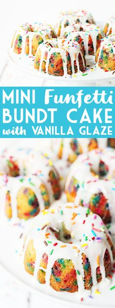 Mini Funfetti Bundt Cake with Vanilla Glaze -- Mini funfetti bundt cakes with vanilla glaze are a fun party dessert. Perfect topped with a scoop of ice cream, whipped cream, more sprinkles and a cherry! Bunt Cakes, Cupcake Cakes, Cupcakes, Mini Desserts, Dessert Recipes, Mini Bunt Cake Recipes, Mini Appetizers, Party Desserts, Dessert Ideas
