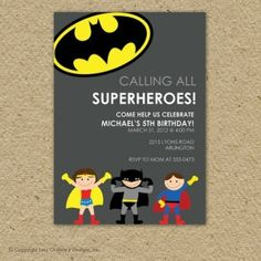 Batman super hero birthday party invitation