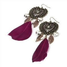 Feather Drop Pierced Fashion Earrings Burnt Gold