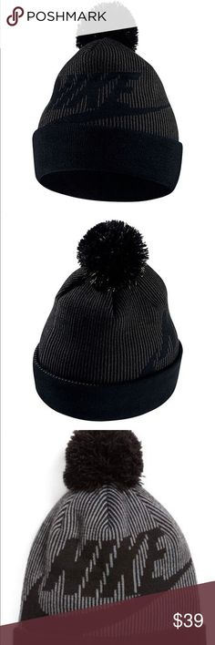 Nike Women's Beanie Pom Hat 100% acrylic knit Add some glam to your day with the Women's Nike Sportswear Beanie Hat. Knit-in design for bold, wintry style Pom is removable for versatile styling Fold-over cuff can be worn unfolded for versatility One Size Fits Most Nike Accessories Hats #HatsForWomenNike