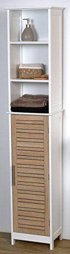 Mueble columna de baño - 3 estanterías y 1 puerta - Diseño Roble envejecido ✿ ▬► Ver oferta: https://cadaviernes.com/ofertas-de-muebles-bano/