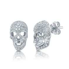 Silver Skull Earrings with White Cubic Zirconia