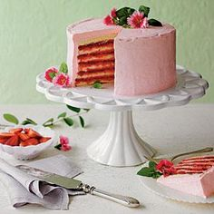 Strawberries and Cream Cake Recipe | MyRecipes.com. You could just buy the jam filling and use a buttercream frosting using puréed strawberries.