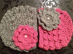PrettyHooked Crochet Newborn Twin Girl Hats in by PrettyHooked, $30.00