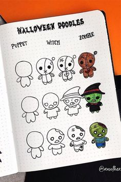 Best Bullet Journal Doodle Ideas For Halloween & Fall 2020 - Crazy Laura - - Starting your fall theme and need some deocration ideas? Check out these Fall and Halloween step by step bullet journal doodle tutorials for inspiration! Bullet Journal Halloween, March Bullet Journal, Bullet Journal Cover Page, Bullet Journal Ideas Pages, Bullet Journal Layout, Bullet Journal Inspiration, Doodle Drawings, Easy Drawings, Doodle Art