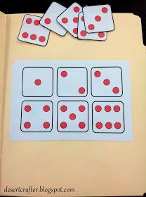 Desert Crafter: More File Folder Games for Preschoolers (extension - match written number to dice) Preschool Special Education, Preschool Classroom, Preschool Learning, Math Activities, Toddler Activities, Preschool Activities, Teaching, Preschool Printables, Preschool Centers