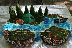 Homemade Camping Cake: I made this Camping Cake for my son's 9th birthday camping party.  I made four 9 round cakes, two on top each other.  For the trees, I used sugar cones,