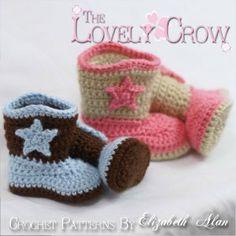 """Crotchet baby Cowboy/Cowgirl boots."" #crochet"