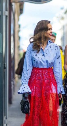 Jessica Alba wears Valentino men's look-alike shirt with lace skirt