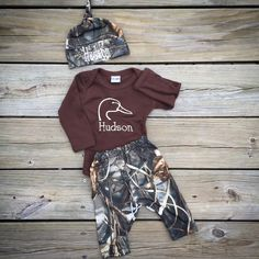 Duck head Camo, baby boy hunter, water fowl, infant pant set, take home, newborn, baby shower gift by Rufflesnbuttons on Etsy https://www.etsy.com/listing/254800611/duck-head-camo-baby-boy-hunter-water